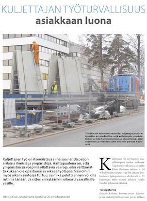 Kuljettajan työturvallisuus asiakkaan luona, Ammattikuljettaja 1-2014
