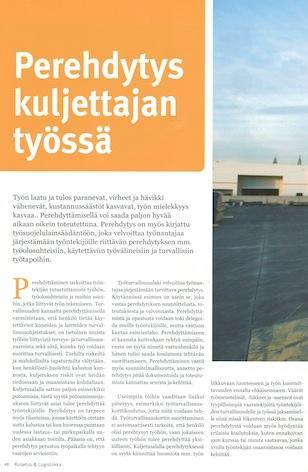 Perehdytys kuljettajan työssä, Kuljetus & Logistiikka 4-2014