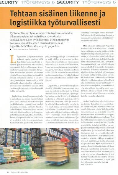 Sisäinen logistiikka työturvallisesti, Kuljetus & Logistiikka 5-2014