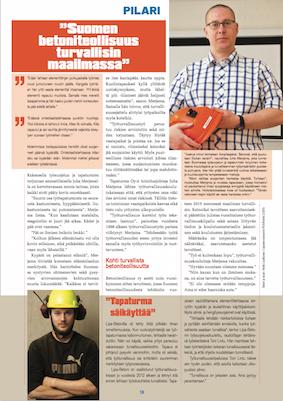 Suomen betoniteollisuus turvallisin maailmassa. Pilari-lehti 2-2015